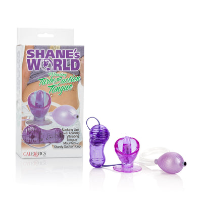 California Exotics - Shane's World Vibrating Turbo Suction Tongue Clit Massager (Purple) Clit Massager (Vibration) Non Rechargeable PleasureHobby