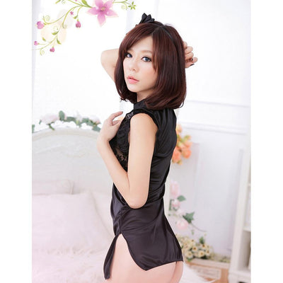 Garden - Chic China Baby Doll Lingerie (Black) | CherryAffairs Singapore