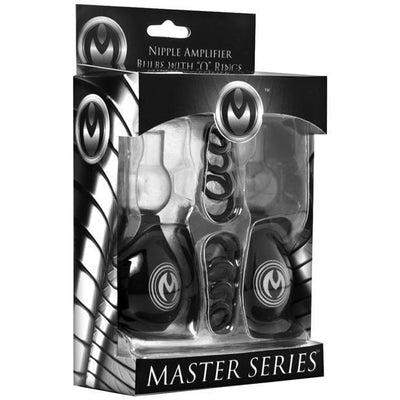 "Master Series - Pyramids Nipple Amplifier Bulbs With ""O"" Rings (Black) Nipple Pumps (Non Vibration) PleasureHobby"