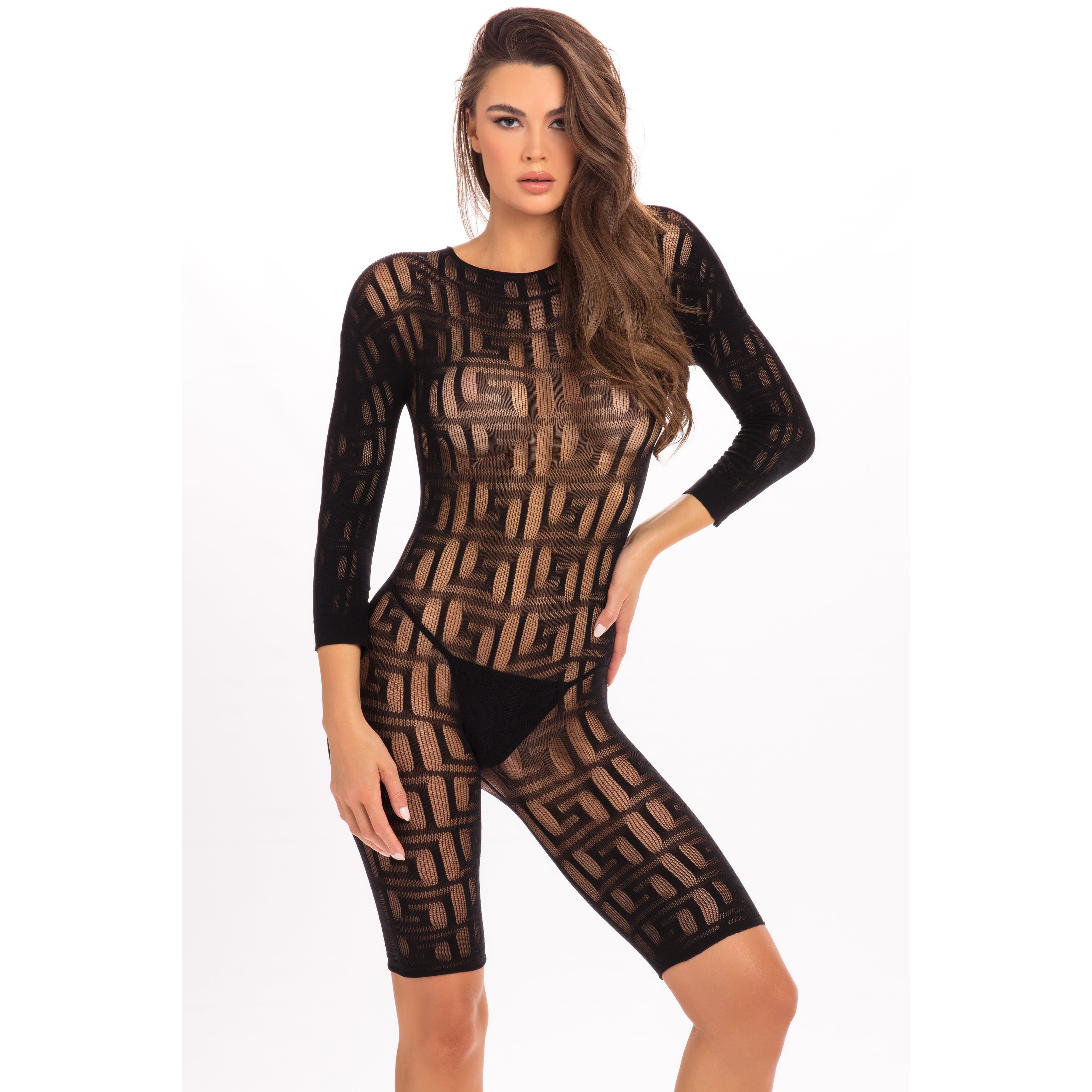 Rene Rofe - Exotic Crotchless Bodystocking Costume M/L (Black) Costumes PleasureHobby