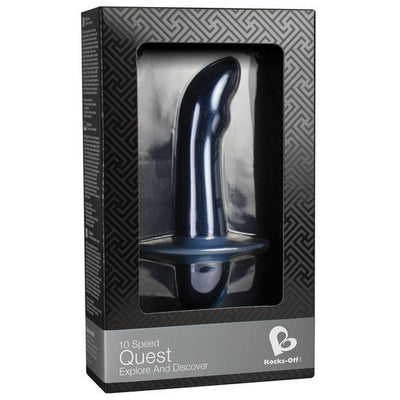 RocksOff - 10 Speed Quest Explore and Discover Prostate Bullet (Blue) Prostate Massager (Vibration) Non Rechargeable PleasureHobby