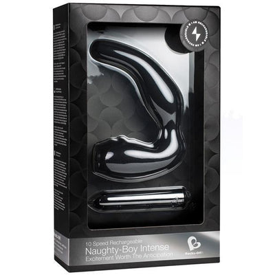 RocksOff - 10 Speed Rechargeable Naughty Boy Intense Prostate Massager (Black) Prostate Massager (Vibration) Rechargeable PleasureHobby