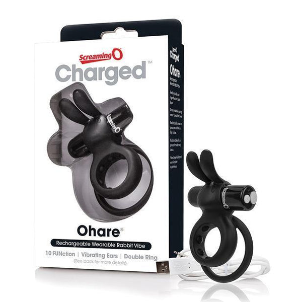 The Screaming O - Charged Ohare Rechargeable Wearable Rabbit Cock Ring (Black) Silicone Cock Ring (Vibration) Rechargeable Singapore