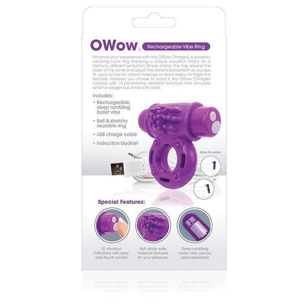 The Screaming O - Charged OWow Rechargeable Cock Ring (Purple) Rubber Cock Ring (Vibration) Rechargeable Singapore