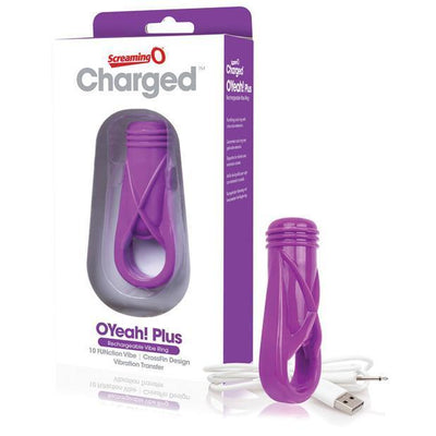 The Screaming O - Charged OYeah Plus Rechargeable Cock Ring (Purple) Rubber Cock Ring (Vibration) Rechargeable PleasureHobby