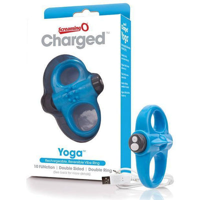 The Screaming O - Charged Yoga Rechargeable Reversible Cock Vibe (Blue) Rubber Cock Ring (Vibration) Rechargeable PleasureHobby