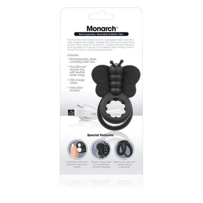 TheScreamingO - Charged Monarch Rechargeable Butterfly Cock Ring (Black) Silicone Cock Ring (Vibration) Rechargeable Singapore