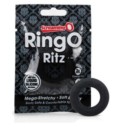 TheScreamingO - RingO Ritz Soft Silicone Cock Ring (Black) Silicone Cock Ring (Non Vibration) PleasureHobby