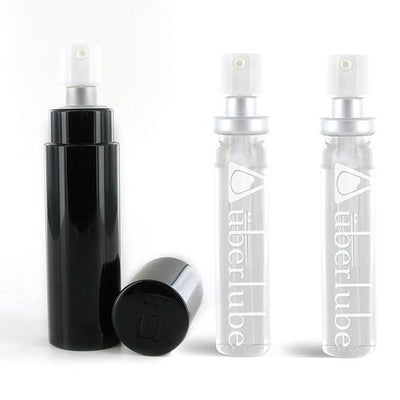Uberlube - Silicone Lubricant Refillable Case with 3 Refills 15ml (Black) Lube (Silicone Based) PleasureHobby