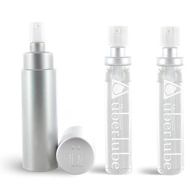 Uberlube - Silicone Lubricant Refillable Case with 3 Refills 15ml (Silver) Lube (Silicone Based) PleasureHobby