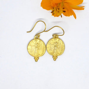 Angel earrings roman coin