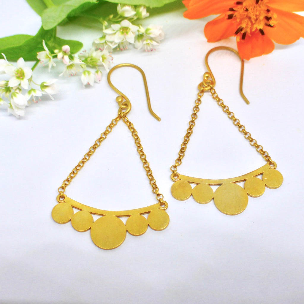 Gold Swing earrings Byron Bay