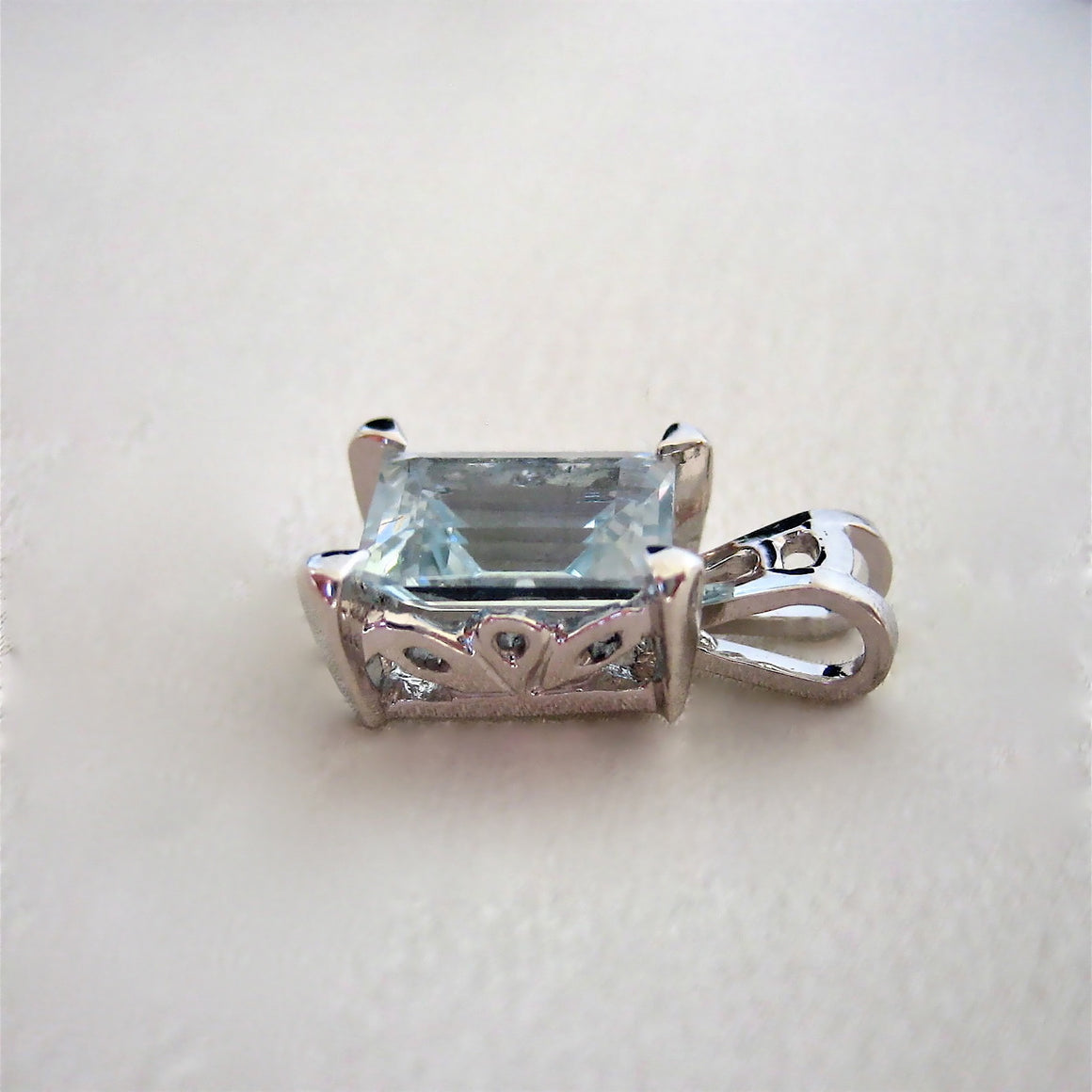 Custom - 18ct W/Gold Pendant With Aquamarine