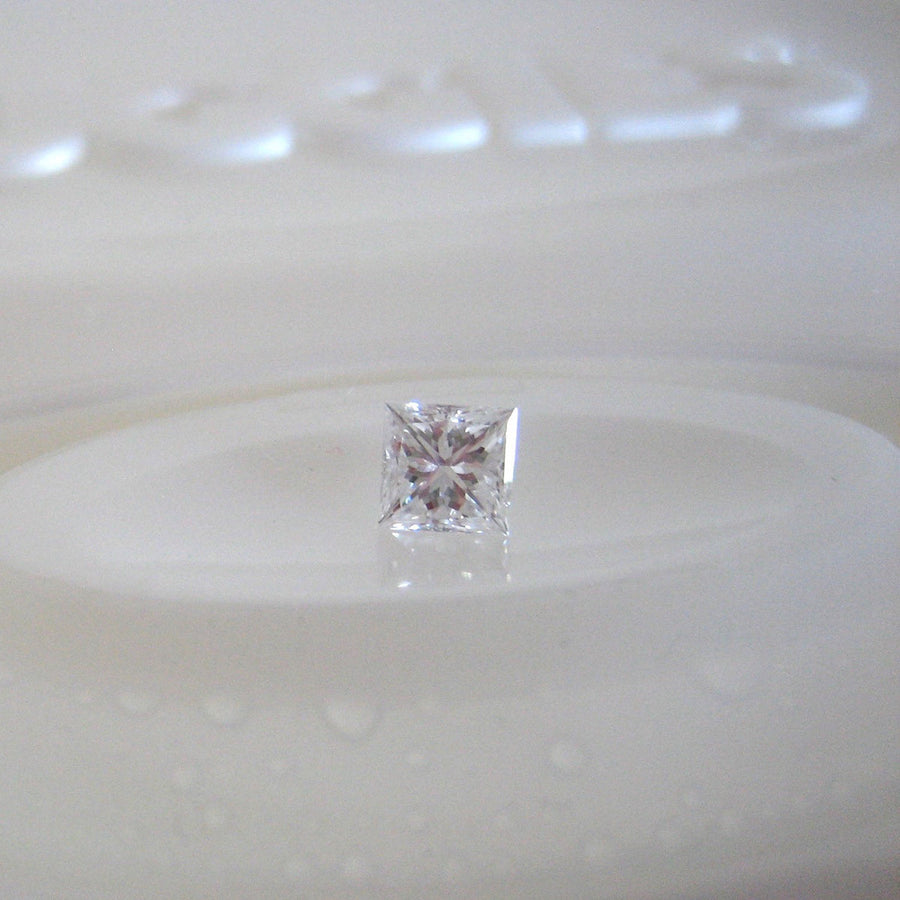 Custom - 18ct White Gold And  Princess Cut Diamond, Handmade Engagement Ring