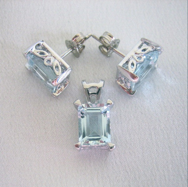 Custom - 18ct White Gold Custom Jewellery Set With Earrings, Pendant And Ring