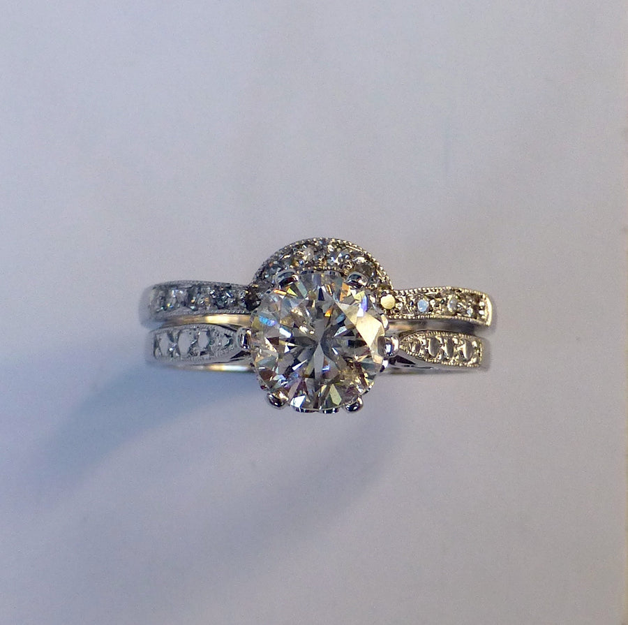 Custom made 18ct White Gold Wedding & Engagement Ring