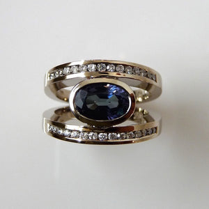 Custom - Blue Tourmaline And Diamond Dress Ring
