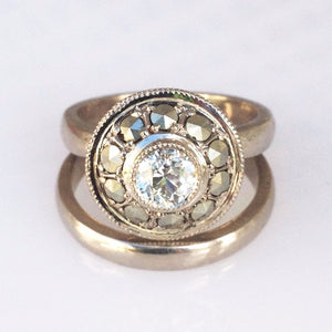 Custom - Engagement And Wedding Ring With Marcasite And Diamond.