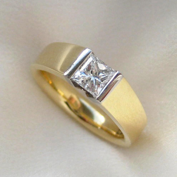 Custom - Engagement Ring In 18ct With W/Gold Princess Cut Diamond Setting
