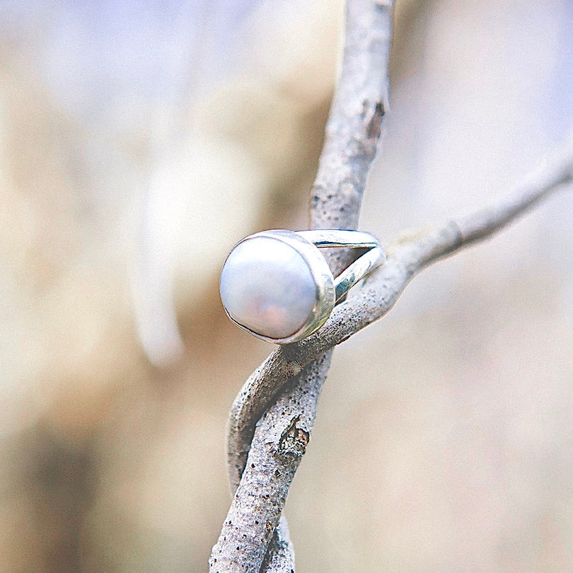 Baroque Pearl encased in a Sterling Silver Ring
