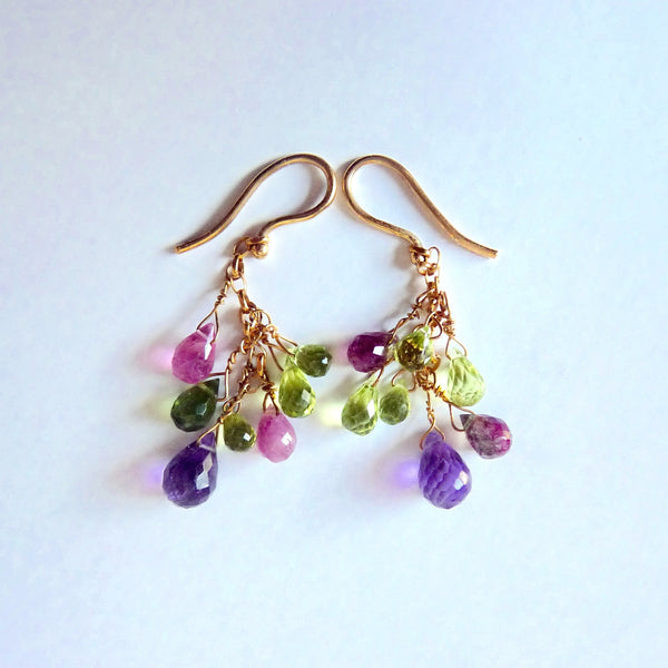 Earrings - 18 Carat Gold And Tourmaline Drop Earrings