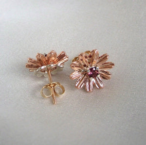 Earrings - Gold Stud Flower Earrings