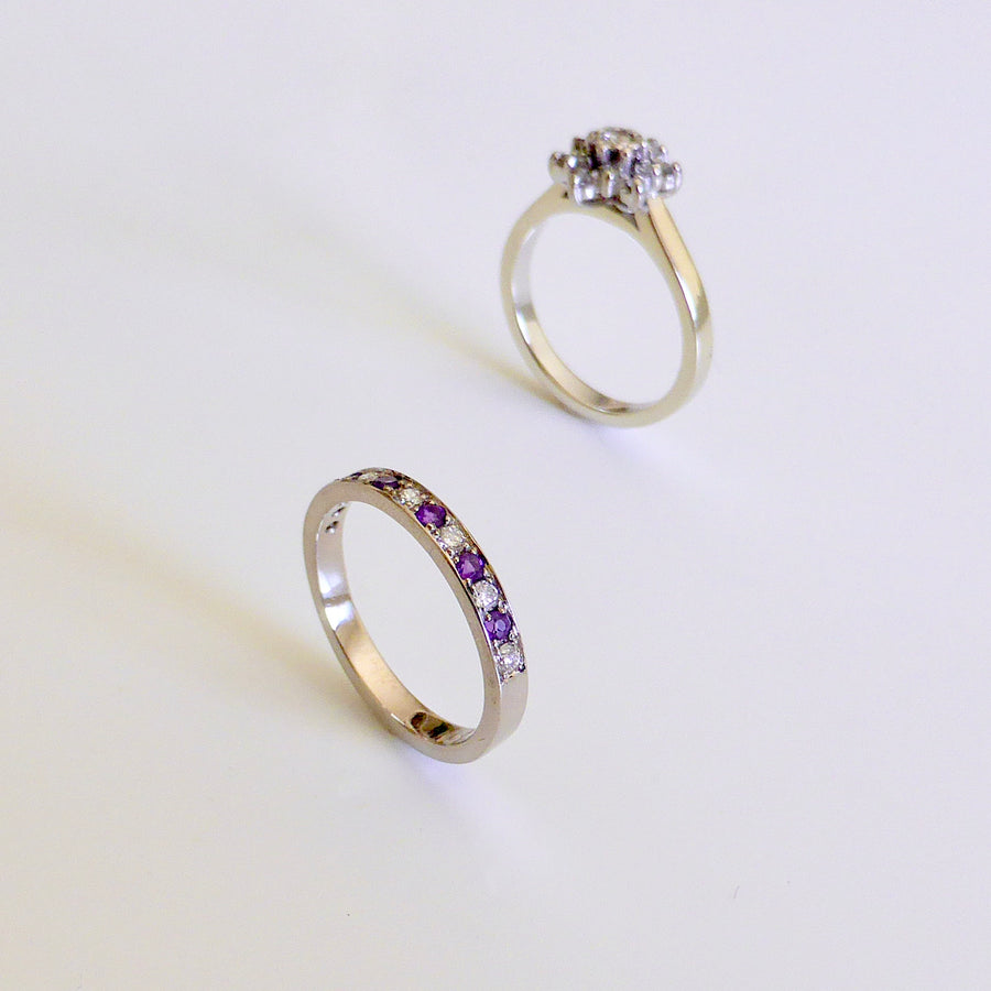 Wedding Amethyst and Diamond Band