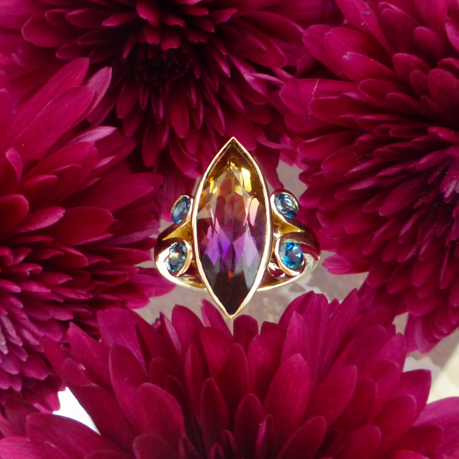 Rings - Ametrine And Blue Topaz Set In 18ct Carat Yellow Gold.