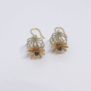 Silver and gold poppy earrings byron bay