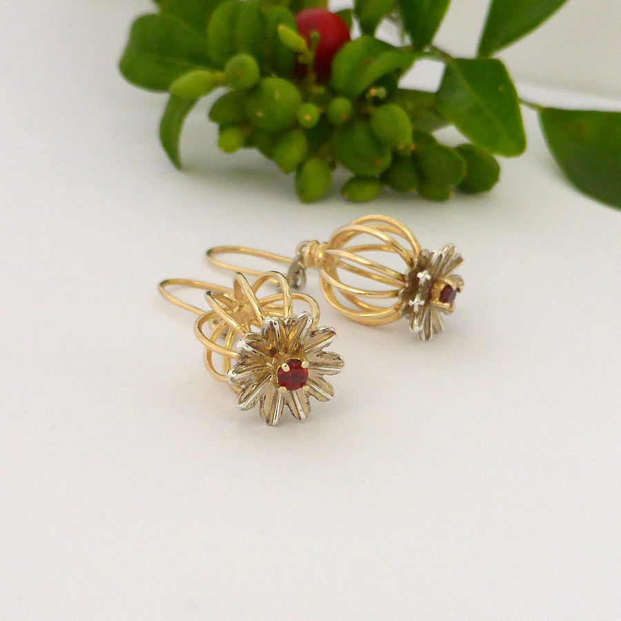 Earrings - Gold And Silver Poppy Earrings With Garnets