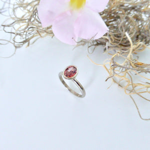 White gold pink tourmaline ring