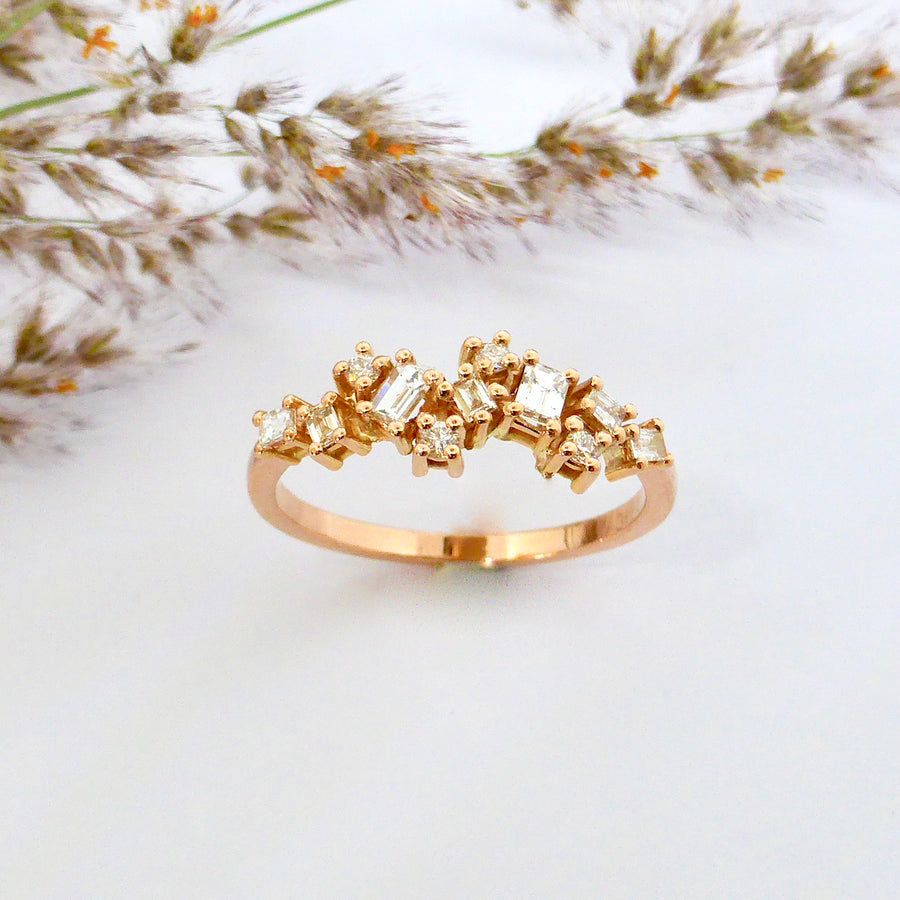 Rose gold baguette wedding ring