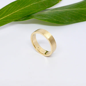 Yellow gold matt wedding band