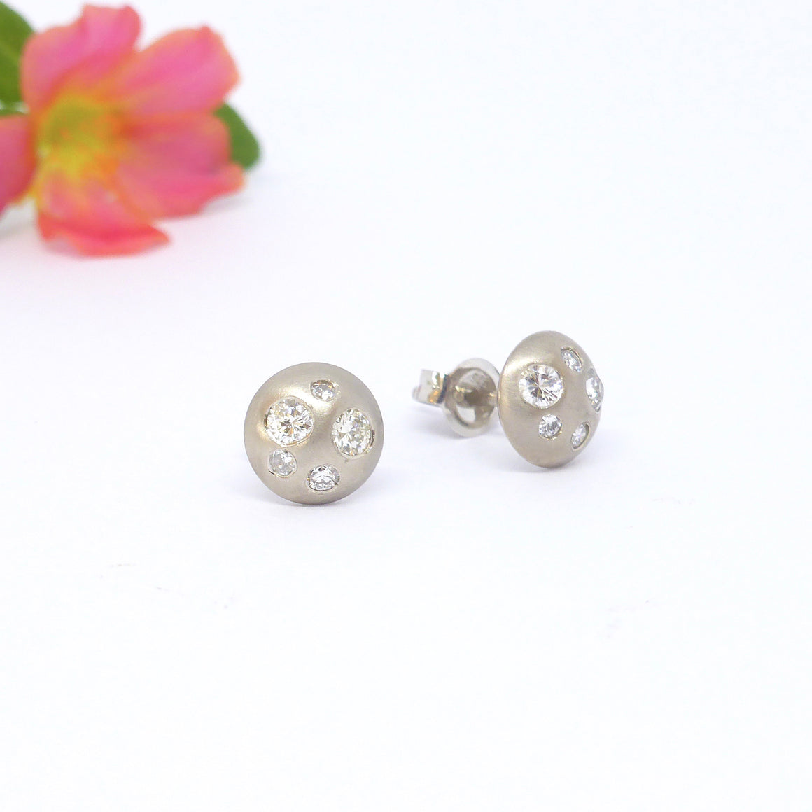 18ct white gold button stud earrings