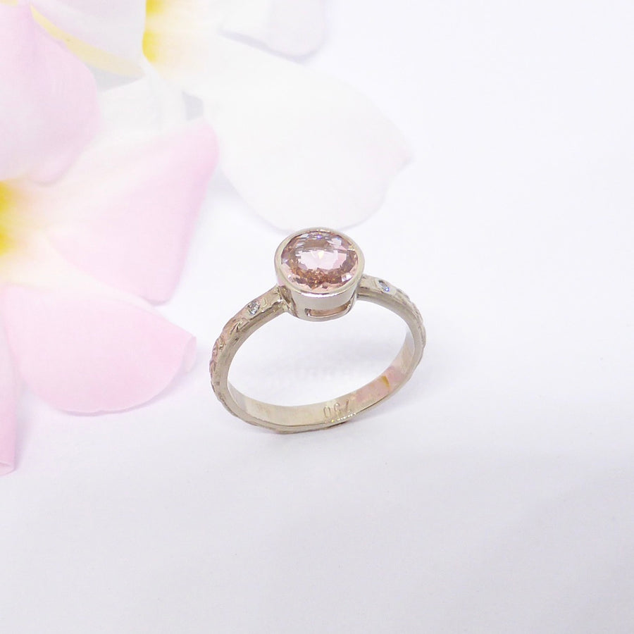 morganite roses ring white gold