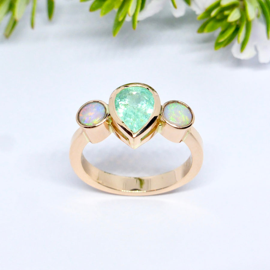 Custom designed, handmade, Opal and Paraiba tourmaline ring.