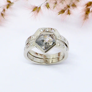 Salt and pepper wedding ring set