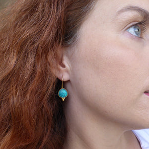 Turquoise earrings in gold Newrybar Byron Bay