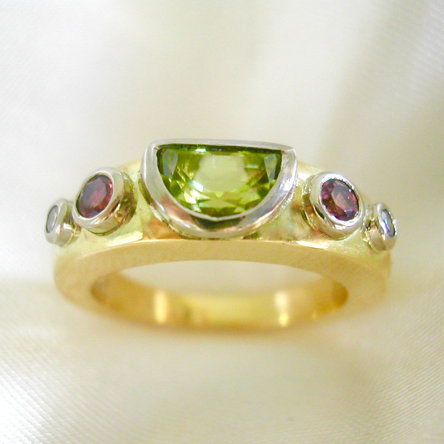 Rings - 18ct Gold, Peridot, Pink Tourmaline And Diamond Ring