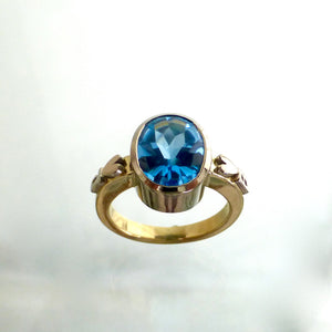 Rings - Custom 18ct White, Yellow Gold And Blue Tourmaline Dress Ring
