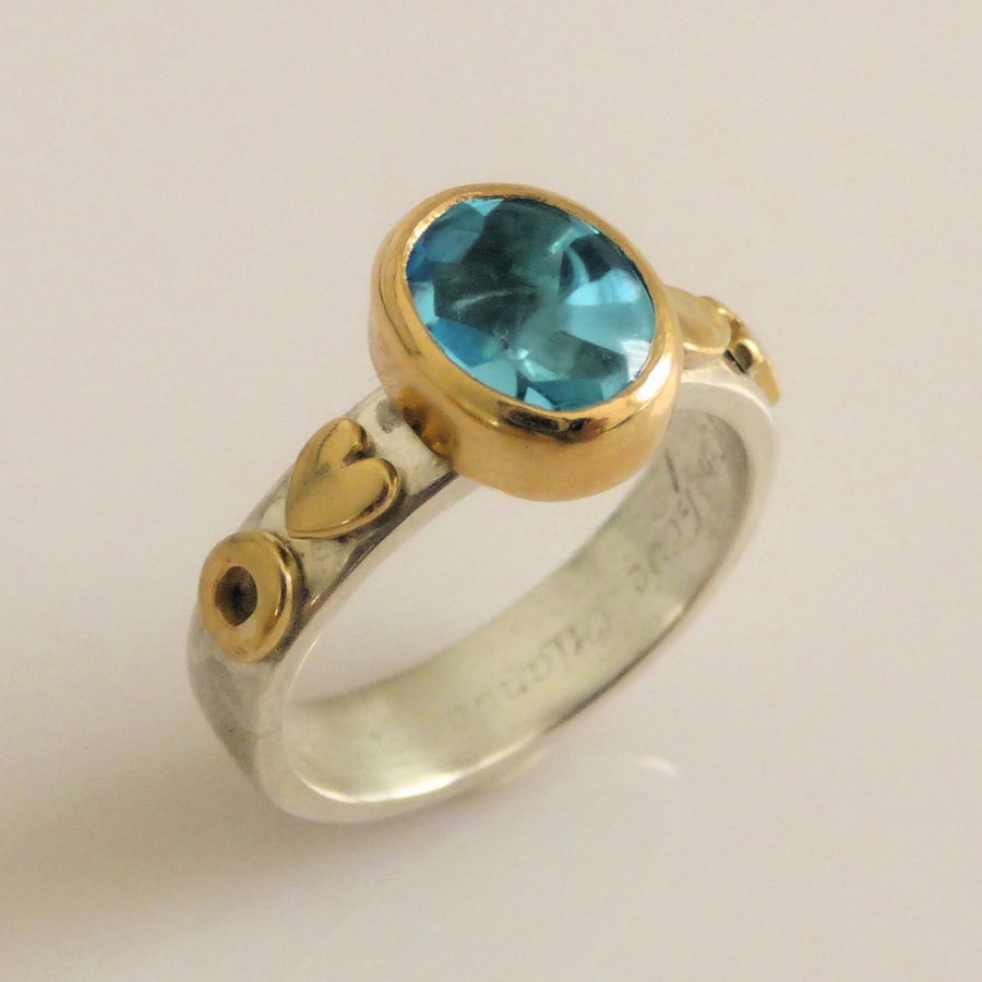 Rings - Custom Made Ring In Stg Silver, 9ct Yellow Gold, Sky Blue Tourmaline.