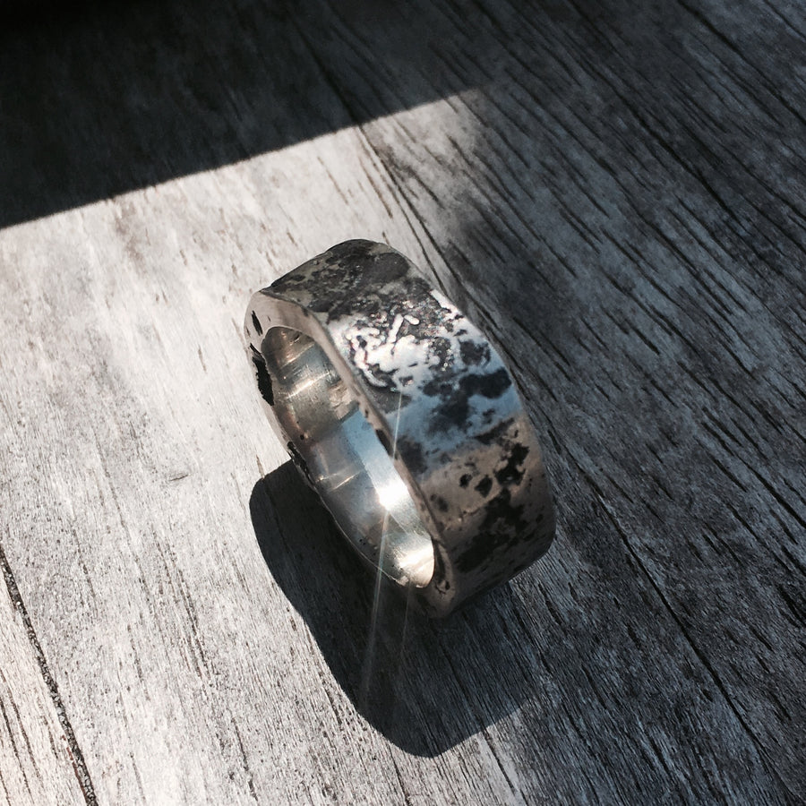 Mens Sterling Silver Distressed Band