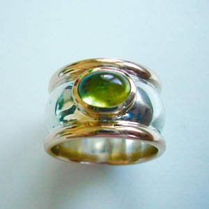 Rings - Peridot, 18ct And Sterling Silver Dress Ring