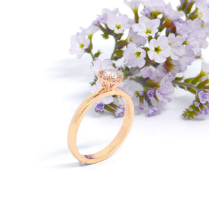 Gold halo engagement ring