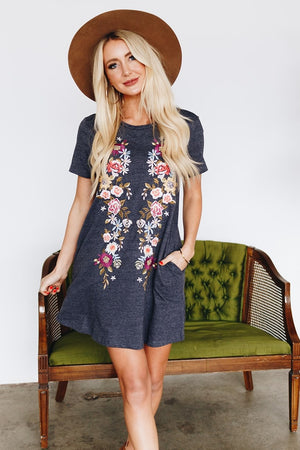 Embroidered Tee Dress with Pockets - More Colors