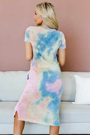 Sunset Tie Dye Dress - Blue