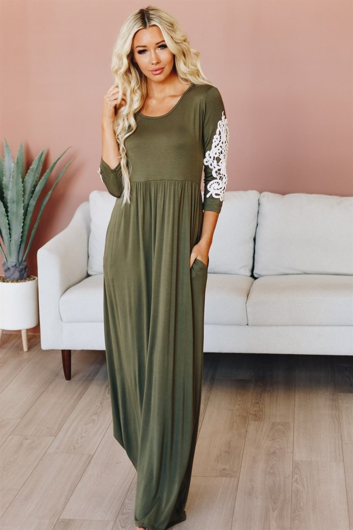 Perfect Crochet Maxi Dress - Olive