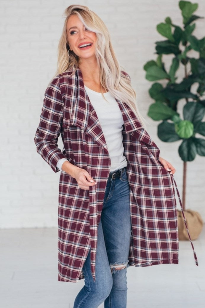 Buffalo Trench Coat - Burgundy - J3966