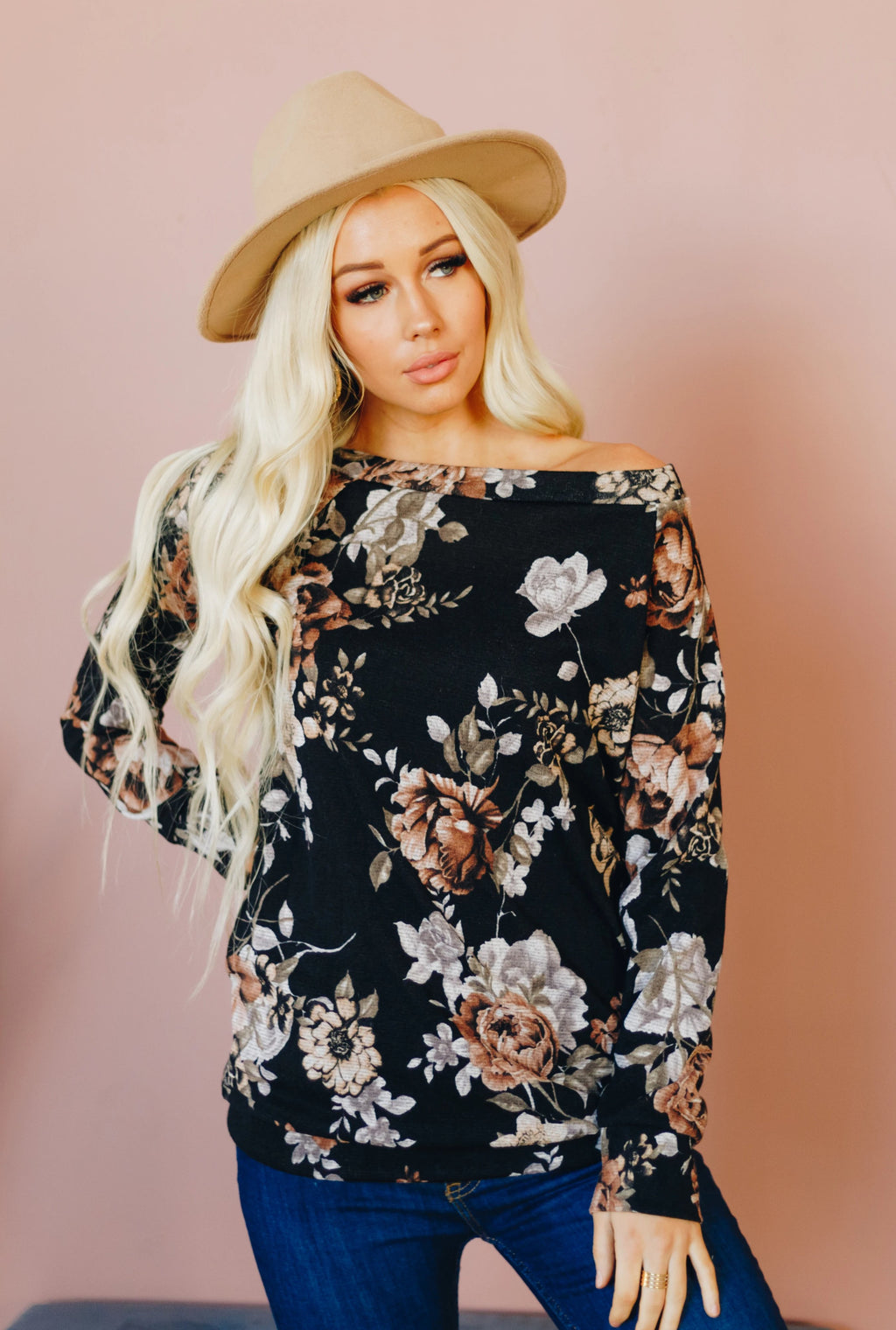 Floral Crush PullOver with Pockets - Black