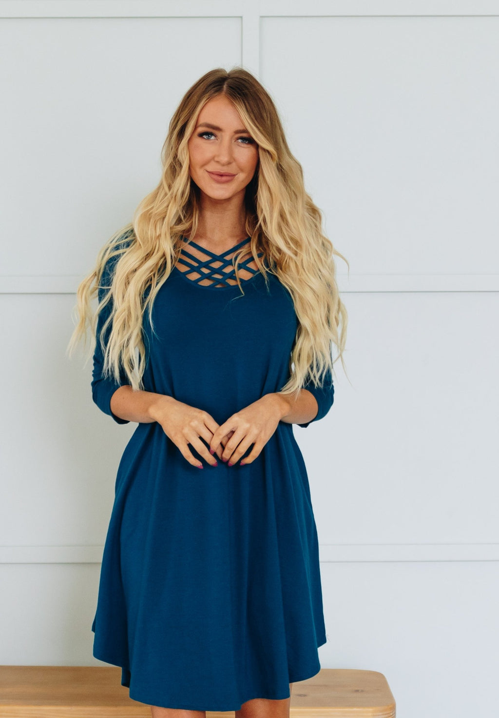 Lattice Swing Dress with Pockets - More Colors